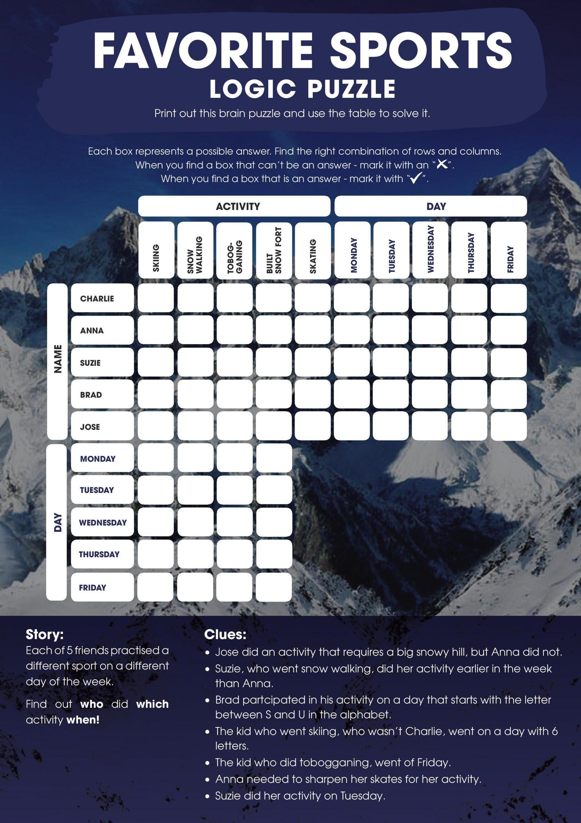 Printable Logic Puzzle