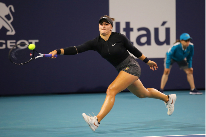 Bianca Andreescu in action at 2019 Miami Open at the Hard Rock Stadium in Miami Gardens