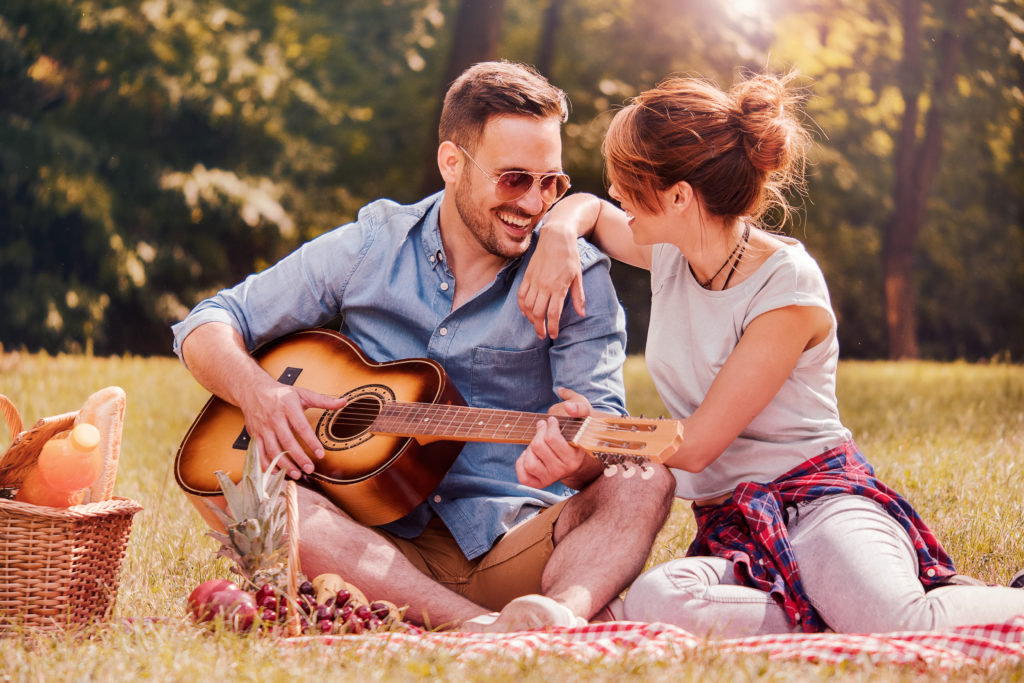 Expressing self with guitar to spouse